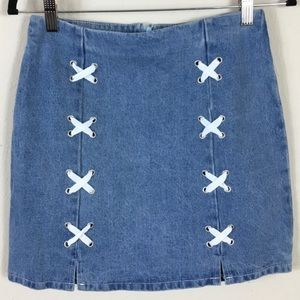 Sage Denim blue jean skirt with laces sz small NWT